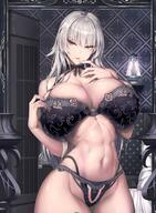 1girl black_bra black_panties bra breasts huge_breasts limeblock panties priana silver_hair solo tagme underwear // 1224x1668 // 342.5KB