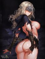 arm_wrap armor ass blindfold blonde_hair blush breasts cape capelet cloak closed_mouth covered_eyes cowboy_shot dark_souls dark_souls_iii dress female fire_keeper in_profile jewelry large_breasts lips long_hair mask sideboob smile solo souls_(from_software) torn_clothes vana wet // 1220x1605 // 264.0KB