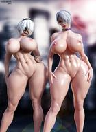 2girls 3d abs android areolae artist_name bandai_namco big_breasts breasts crossover female female_only hair hair_ornament hairband huge_breasts isabella_valentine large_breasts multiple_girls navel nier nier:_automata nipples nude soul_calibur soul_calibur_vi soulartmatter standing thighs toned toned_female video_games white_hair yorha_2b // 1080x1485 // 188.7KB