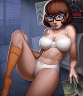 bra brown_hair dquinn89 female glasses panties scooby-doo short_hair solo upskirt velma_dinkley white_panties // 1080x1247 // 150.0KB