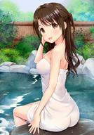 1girl :d :o arm_at_side bamboo_fence bare_shoulders bath bathing bathtub blush brown_eyes bushes erect_nipples erect_nipples_under_clothes erect_nipples_under_towel feet_in_water female fence from_behind hand_up idolmaster idolmaster_cinderella_girls long_hair looking_at_viewer looking_back naked_towel nipples one_side_up onsen open_mouth outdoor_bath outdoors partially_submerged rock see-through shimamura_uzuki sidelocks sitting smile soaking_feet solo tareme towel water water_drop wet wet_body // 880x1257 // 244.1KB