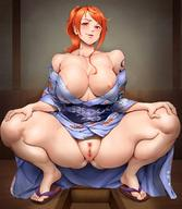 1girl breasts large_breasts nami_(one_piece) nipples one_piece orange_hair pussy smile solo spread_legs spreading squatting // 1020x1175 // 158.2KB