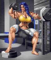 1futa 2d abs atya balls big_breasts big_penis blue_hair bodybuilder bulge clothed color dickgirl front_view futanari huge_balls looking_at_viewer milf muscular oboro_taima orange_eyes sitting sports_bra sweat tanned tattoo thick_thighs weightlifting // 1180x1386 // 224.1KB