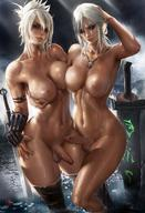 2_futanari 2girls breasts cirilla_fiona_elen_riannon erection female full-package_futanari futanari high_resolution intersex large_breasts league_of_legends lips looking_at_viewer medium_hair multiple_futanari multiple_girls naked_thighhighs nipples nude outdoor_nudity outdoors paipan parted_lips partially_submerged penis pose riven_(league_of_legends) sakimichan scar shiny shiny_skin silver_hair slender_waist smile standing testicles the_witcher_(series) the_witcher_3:_wild_hunt thighhighs third-party_edit // 1020x1490 // 224.2KB