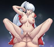 1girl blue_eyes blush breasts feet female large_breasts long_hair navel nipples nude open_mouth penis pigutao rwby sex shiny shiny_hair shiny_skin silver_hair sweat uncensored vagina vaginal_juices weiss_schnee // 1200x1033 // 138.3KB