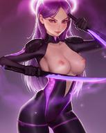 bodysuit breasts breasts_out breasts_outside dagger daggers digital_media_(artwork) futuristic halo kittew nipples original_character topless violet_eyes violet_hair // 880x1102 // 107.8KB