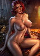 breasts brown_eyes logan_cure looking_at_viewer nude pubic_hair red_hair smile the_witcher_(series) triss_merigold vagina // 1422x1980 // 293.7KB