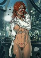 areolae breasts clothing curvy female female_only ganassa glasses hair katarina_alves long_hair medium_breasts mostly_nude navel nipples pubic_hair pussy red_hair solo sunglasses tattoo tekken tekken_7 video_games // 880x1245 // 186.1KB