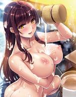 1girl areolae arm_under_breasts ass bangs bath bathing blush breast_hold breasts brown_hair clavicle cleavage completely_nude curvaceous dusk embarrassed evening eyebrows_visible_through_hair female female_only from_behind hair_over_shoulder high_resolution holding_bucket large_breasts long_hair looking_at_viewer looking_back nipples nude onsen open_mouth original outdoor_bath posterior_cleavage pouring pouring_on_self rock saijou_satoru sidelocks sitting sitting_on_floor smile snow snowing soap_bubbles solo squatting steam stone_floor towel twisted_torso wariza water water_drop water_droplets wet wet_body wooden_bucket wooden_chair yellow_eyes // 1200x1529 // 292.9KB