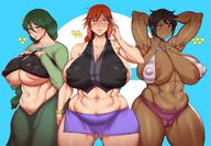 3girls abs adjusting_glasses areola_slip areolae armpits arms_behind_head arms_up ass barely_any_clothes belly black_hair black_shirt blush braid breasts cameltoe character_request creatures_(company) curvaceous dark-skinned_female dark_skin dress erect_nipples erect_nipples_under_clothes fat fat_mons female female_only game_freak green_dress green_eyes green_hair gren_shirt high_resolution huge_ass huge_breasts island_kahuna jewelry light-skinned_female long_hair looking_at_viewer lorelei_(pokemon) megane microskirt midriff milf miniskirt momi_(pokemon) multiple_girls muscle muscular_female natedecock natedeock navel nintendo nipples no_bra olivia_(pokemon) orange_hair plump pokemon pokemon_(game) pokemon_character pokemon_masters red_eyes red_hair seductive_smile sexy_pose shirt short_hair simple_background single_braid skirt smile stars take_your_pick thick_thighs thighs tied_hair toned underboob voluptuous wide_hips // 1420x986 // 203.2KB