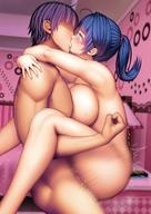 1boy 1girl arms_around_neck asamurasaki bangs blush braid breasts eyebrows_visible_through_hair female highres honkai_(series) honkai_impact_3rd indoors kissing large_breasts long_hair motion_blur muscle nude ponytail purple_eyes purple_hair raiden_mei saliva sex short_hair standing standing_sex straight sweat tearing_up upright_straddle vaginal_penetration very_long_hair // 1200x1698 // 272.6KB