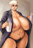 1girl areola_slip areolae bare_shoulders blonde blue_eyes breasts cleavage curvaceous dark-skinned_female dark_skin donaught female high_resolution huge_breasts lactation looking_at_viewer mature mature_woman megane miffu milk milk_drop mole mole_under_mouth original plump pubic_hair short_hair smile solo standing tanned thick_thighs thighs // 1080x1566 // 173.1KB