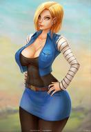 android_18 blonde_hair blue_eyes cleavage curvy dragon_ball gigantic_breasts short_hair thick_lips vempire voluptuous wide_hips // 1080x1574 // 161.1KB