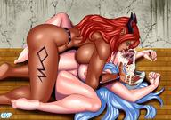1girl 2girls all_the_way_through alternate_version_available arms_up bare_shoulders barefoot bbc blue_eyes blue_hair breasts busty cssp cum_outside curvaceous dark-skinned_futanari dark_skin demon demon_girl detailed_background docking duo erect_nipples erection esdeath eyelashes facial feet female female_only female_solo femsub futa_on_female futadom futanari hat horns hourglass_figure huge_penis human humanoid impossible_fit indoors inside intersex interspecies kneeling large_breasts licking long_hair looking_down looking_up lying missionary_position multiple_girls newhalf nipples nude on_back overflow penis pointed_ears ponytail pose red_hair saliva semen sex shadow shiny shiny_skin sideboob spread_legs spreading stomach_bulge talise tattoo tera_online tied_hair tongue tongue_out vaginal voluptuous wide_hips // 1200x846 // 228.5KB