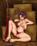 1girls areolae armor azima big_breasts breasts clothing exposed_breasts female female_only green_eyes hair nipples panties red_thong solo sword thong thong_aside topless // 1080x1350 // 227.0KB