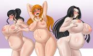 3girls black_hair boa_hancock breasts cleavage huge_breasts large_breasts long_hair milf multiple_girls nami_(one_piece) nico_robin nipples nude one_piece orange_hair pregnant smile // 2400x1440 // 371.4KB