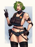 bulletproof_vest devil_hs elbow_pads eyebrow_piercing gloves green_hair hair_over_one_eye headset large_breasts peace_sign police_badge short_jeans short_shorts shorts simple_background stockings // 1496x2004 // 249.1KB