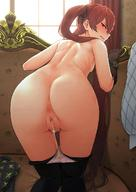1girl aftersex anus ass bare_shoulders bent_over black_gloves black_legwear black_ribbon blush breasts brown_hair censored clenched_teeth commission couch cum cum_in_pussy cumdrip cumdrip_onto_panties fire_emblem fire_emblem_if glaring gloves hair_ribbon highres indoors kneeling long_hair looking_at_viewer looking_back luna_(fire_emblem_if) mosaic_censoring nude on_couch oxxo_(dlengur) panties panties_under_pantyhose panty_pull pantyhose pantyhose_pull profile pubic_hair pussy pximg ribbon small_breasts solo teeth tsurime twintails underwear very_long_hair white_panties // 880x1242 // 154.1KB
