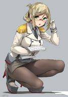 1girl adjusting_eyewear bespectacled black_legwear black_neckwear blonde breasts chestnut_mouth eyebrows_visible_through_hair female full_body green_eyes grey_background grey_shirt happa_(cloverppd) kantai_collection katori_(kantai_collection) long_hair looking_at_viewer megane pantyhose pencil_skirt picking_up shirt short_hair simple_background skirt solo squatting // 880x1251 // 131.9KB