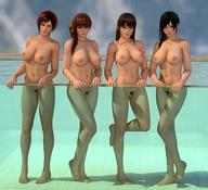 3d 4girls areolae barefoot black_eyes black_hair breasts brown_eyes brown_hair dead_or_alive feet female full_body kasumi_(doa) kokoro_(doa) legs lei_fang lips long_hair looking_at_viewer mila_(dead_or_alive) multiple_girls navel nipples nude orange_ribbon outdoors ponytail pool pubic_hair pussy radianteld red_eyes red_hair short_hair side_ponytail soles source_filmmaker thighs tied_hair trimmed_pubic_hair wet wet_hair xps // 1200x1091 // 155.6KB
