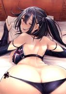 1girl arm_strap ass azur_lane bare_shoulders bed_sheet black_gloves black_hair black_swimsuit blush breasts cleavage_cutout earrings elbow_gloves eyebrows_visible_through_hair eyes_visible_through_hair front_zipper_swimsuit gloves hair_between_eyes highres iron_cross jewelry large_breasts long_hair looking_at_viewer looking_back lying mappaninatta mask mask_removed meme_attire multicolored_hair on_stomach one-piece_swimsuit one_side_up pillow pillow_grab red_eyes smile solo streaked_hair sweat swimsuit top-down_bottom-up u-47_(azur_lane) unzipped white_hair // 1020x1442 // 197.0KB