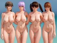 3d 4girls absurdres ayane_(doa) bangs blue_background breasts brown_eyes brown_hair closed_mouth collarbone commentary_request cropped_legs dead_or_alive eyebrows_visible_through_hair hair_between_eyes hand_on_another's_back hand_on_another's_waist headband highres hitomi_(doa) huge_filesize kasumi_(doa) lei_fang light_smile long_hair looking_at_viewer midriff multiple_girls navel nipples nude pink_headband purple_hair pussy radiant_eld red_eyes red_hair simple_background smile thigh_gap twintails // 1200x900 // 142.4KB