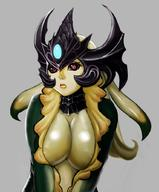 breasts center_opening cleavage headdress large_breasts league_of_legends lips mermaid monster_girl nami_(league_of_legends) scales // 850x1024 // 97.4KB