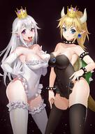 2girls absurdres adapted_costume armlet armpits asymmetrical_docking bangs bare_hips bare_shoulders black_collar black_leotard blonde_hair blue_eyes blush bowsette bracelet breast_press breast_suppress breasts brown_background cleavage closed_mouth collar collarbone commentary_request contrapposto covered_navel crown earrings elbow_gloves frilled_legwear frilled_leotard frills gem gloves hair_between_eyes hand_on_hip hand_on_own_chest hand_on_own_thigh high_ponytail highleg highleg_leotard highres hongye_feixue horns jewelry large_breasts leg_garter leotard light_particles long_hair looking_at_viewer mario_(series) matching_outfit multiple_girls neck_garter open_mouth pink_eyes pointy_ears ponytail pout princess princess_king_boo sapphire_(stone) sharp_teeth shiny shiny_hair sidelocks silver_trim smile spiked_armlet spiked_bracelet spiked_collar spiked_shell spikes standing straight_hair strapless strapless_leotard super_crown tail teeth thighhighs thighs tongue tongue_out turtle_shell upper_teeth v-shaped_eyebrows very_long_hair white_frills white_gloves white_hair white_legwear white_leotard // 1080x1528 // 212.0KB