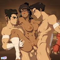 2boys abs anal avatar_(series) avatar_the_last_airbender blue_eyes blush bolin breasts dark-skinned_female dark_skin double_penetration female group_sex korra large_breasts mako male multiple_boys nipples owler penis pussy sex the_legend_of_korra threesome vaginal_penetration // 1200x1208 // 172.6KB