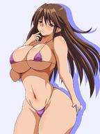 1girl bikini blue_background blush breasts brown_eyes brown_hair cleavage finger_to_mouth gluteal_fold huge_breasts ichigo_100_percent inabakun00 kitaooji_satsuki long_hair looking_at_viewer matching_haireyes micro_bikini navel parted_lips purple_bikini silhouette simple_background smile solo standing swimsuit wide_hips // 1200x1600 // 179.1KB