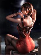 1girl ada_wong adjusting_strap ass bare_shoulders bench bracelet breasts brown_hair dress eyes_closed from_behind highres holster jewelry legs_crossed liang_xing necklace pantyhose pixie_cut red_dress resident_evil short_hair shoulder_holster sitting solo thighband_pantyhose watch // 1080x1440 // 151.5KB