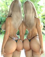 2girls 3d ass ass-to-ass back bikini bikini_bottom blonde blurry blurry_background breasts curvaceous day depth_of_field female high_resolution highleg highleg_bikini highleg_swimsuit holding_hands large_ass large_breasts long_hair multiple_girls siblings sideboob sisters smz-69 swimsuit thong tina_(smz-69) topless trish_(smz-69) twins viewed_from_behind voluptuous // 1200x1500 // 229.1KB