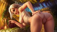 1girl ass bent_over blush breasts ciri cleavage green_eyes open_mouth panties scar silver_hair smile the_witcher the_witcher_3 underwear // 1200x675 // 151.4KB
