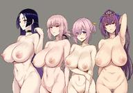 4girls bangs bare_shoulders bikini blush braid breasts choker clavicle closed_mouth fategrand_order fate_(series) female florence_nightingale_(fate) folded_ponytail grey_background hair_between_eyes hair_ornament hair_over_one_eye hair_ribbon headpiece high_resolution huge_breasts large_breasts lavender_hair long_hair looking_at_viewer mashu_kyrielite milf minamoto_no_raikou_(fate) minamoto_no_raikou_(swimsuit_lancer) multiple_girls navel nipples nude open_mouth parted_bangs pink_hair ponytail pubic_hair purple_bikini purple_eyes purple_hair purple_ribbon red_eyes ribbon scathach_(fate)_(all) scathach_skadi short_hair short_ponytail simple_background smile swimsuit tiara tied_hair very_long_hair zhen_lu // 1200x840 // 141.5KB