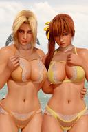 2girls 3d blonde_hair blue_eyes breasts brown_eyes brown_hair curvy dead_or_alive female helena_douglas kasumi_(doa) long_hair long_ponytail looking_at_viewer looking_back multiple_girls orange_ribbon ponytail radianteld ribbon source_filmmaker standing swimsuit thighs tied_hair very_long_hair water // 880x1320 // 154.6KB