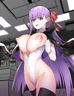 1girl bangs bb_(fateextra_ccc) black_legwear blush boots breasts cape cowboy_shot fateextra fateextra_ccc fate_(series) gloves hair_ribbon highres hips huge_breasts indoors leotard leotard_pull long_hair looking_at_viewer nipples open_mouth purple_eyes purple_hair ribbon smile solo teeth thigh_boots thighhighs thighs very_long_hair white_gloves white_leotard // 1080x1406 // 234.8KB