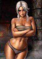 1girl bra ciri crossed_arms dandon_fuga green_eyes navel panties scar smile solo standing tattoo the_witcher the_witcher_3 underwear white_hair // 880x1245 // 147.1KB