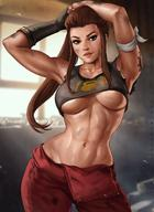 1girl abs armpits arms_up breasts brigitte_lindholm brown_hair dandon_fuga gloves hips large_breasts lips looking_at_viewer muscle muscular_female overwatch pants ponytail solo stomach tank_top toned underboob wide_hips // 1020x1402 // 198.6KB