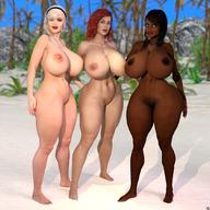 3d 3girls bare_shoulders barefoot beach big_breasts black_hair blonde_hair busty cleavage curvy dark-skinned_female dark_skin detailed_background erect_nipple erect_nipples eyelashes female female_only front_view gray_eyes headband high_heels hourglass_figure human lipstick long_hair looking_at_viewer makeup mandy_(xskullheadx) multiple_females multiple_girls nail_polish naked nude open_mouth original_character outdoor outside pose posing red_hair red_lipstick sand shadow short_hair standing voluptuous wide_hips xskullheadx yellow_hair // 1080x1080 // 175.0KB