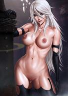 black_gloves black_legwear blue_eyes breasts cum cum_in_pussy cum_inside dandon_fuga female gloves lactation large_breasts long_hair looking_at_viewer nier nier:_automata nipples nude smile solo vagina weapon white_hair yorha_a2 // 1080x1513 // 208.6KB