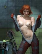 bodysuit breasts cowboy_shot gloves goggless looking_at_viewer medium_breasts open_clothes presenting presenting_breasts realistic red_hair short_hair steven_stahlberg tattoo undressing // 1080x1396 // 245.3KB